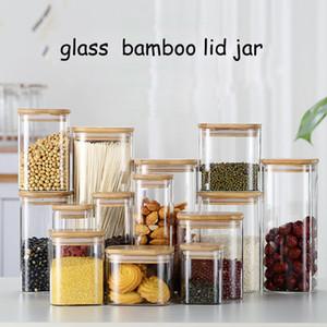 Cuisine étanche verre carré Pot Hermétique réservoir de stockage épices Réservoir thé récipient avec couvercle en bambou de stockage du sel Bouteille café Caddy