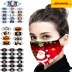 DHL Ship2020 Designer Halloween Noël Tissu visage PM2,5 Masque Filtre Coton Adultes Enfants Mode Pajama Party Lavable Lumious Mask