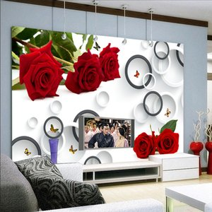 Custom wall covering 3DS stereo rose circle photo mural wallpaper modern creative living room TV sofa wedding house background wall