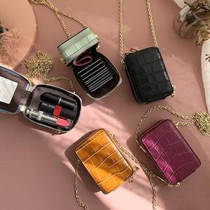 RAZALY cuero auténtico WOC monederos y los bolsos del bolso pequeño colgajo tarjeta Mini Con Espejo mujeres bolsos de cadena de embrague nDqS #