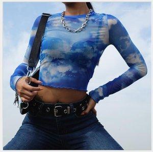 Tshirt Long Sleeve Blue Sky White Clouds Print Skinney Tees Summer Newest Crop Top Womens Designer