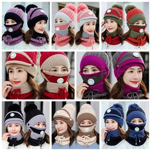 Winter Warm Hats Masks Neckerchiefs Set For Women Wool Pompon Casual Knitted Caps Beanies With Valve Maks Scarf Party Hats Supplies RRA3595