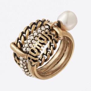 C1973 европейские и американские ретро новой мода высокого указательного пальца чувства многослойных жемчужного циркон цепь роскошной дизайнер ювелирные изделий женщины кольца