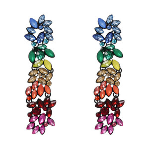 Yhpup Trendy Multi-Color-Blumen-lange Ohrringe baumeln Rhinestone-Kristall Luxus Oorbellen Frauen Hochzeit Schmuck-Geschenk kolczyki