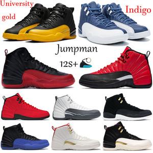 12s Jumpman nueva universidad de oro 12 zapatillas de baloncesto índigo Juego de la gripe iridiscente gimnasia de color rojo reflectante blanco gris oscuro CNY alas hombres entrenadores
