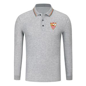 Sevilla FC 2020 Erkek Uzun Kol Gömlek Moda Spor Futbol Polo POLO Gömlek Trend Yüksek Yaka POLO İş Gömlek