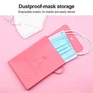 Sac silicone pliable rangement pour masque facial Masques à usage unique visage Sac Clips anti-poussière Container Portable Case Organisateur Box Eco-Friendly