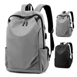 Man Backpack Plain Nylon Large Capacity Travel Bag Unisex Schoolbag USB Backpacks Outdoor Travel