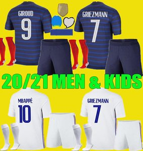 Hommes enfants France kits enfants de football 2020 MBAPPE 2021 Griezmann de football chemises Pogba 20 21 PAVARD Kante garçons adultes uniformes Ensemble complet
