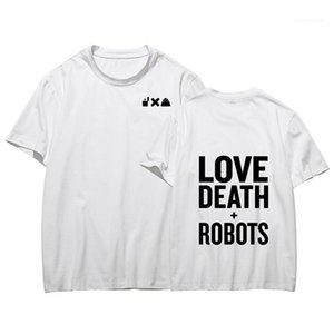 Verão Impressão em torno do pescoço de manga curta Mens Tops Moda secagem rápida Mens Tees Amor E Morte Robots Mens T-shirts
