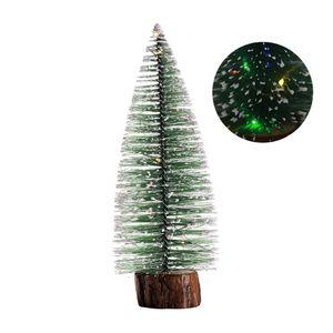 Mini Christmas Tree with White Cedar Standing LED Light Desktop Small Ornaments Decoration For Home Xmas 634E