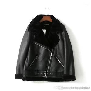 Winter Coats Luxury Women Jackt Inclined Zipper Faxu Fur Liner Coat Womens PU Leather Jacket Designer Jacket