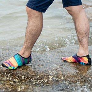 Women Men Wading Shoes Summer Outdoor Beach Unisex Aqua Surf Diving Water Sneakers Fishing Footwear Rainbow Printed Skin Swim