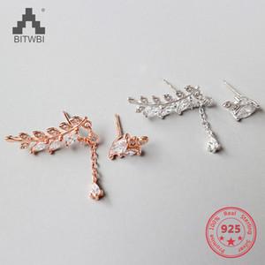 Stud 100% S925 Sterling Silver Fashion Crystal Leaf Earrings For Women Jewelry Bijoux