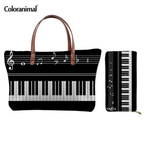 Coloranimal Piano with Music Note Print Women Casual 2 Sets Handbags Large Capacity Ladies Tote Shoulder Bags Woman Fashion Bags