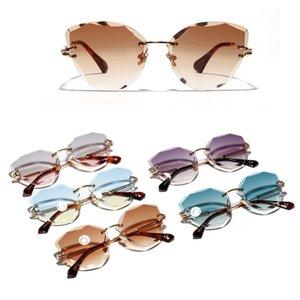 Retro Cat Eye Borderless Colorful Sunglasses Personalized Metal Frame Sun Glasses Progressive Colored Lens 2020