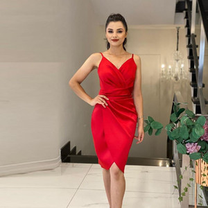 Fashion Cocktail Dresses Sexy V Neck Prom Dresses Spaghetti Tulle Short Homecoming Graduation Gowns Red Mermaid Robe De Soiree L14