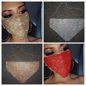 Frauen Metall glänzende Diamant-Gesichtsmaske Bling Bling Strass Masken Sexy Nachtclub-Party-Maske Festival Karneval Wilden Schmuck Maske