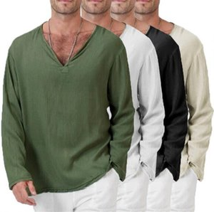 Men Solid T Shirt Long Sleeves Spring Autumn Mens Casual Shirts Clothing For Man V Neck Shirts Male Jacket S-4XL