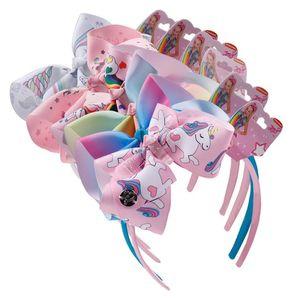 Клип 6inch Мультфильм Unicorn волос Halloween обхватывает Barrettes Bowknot Дети Шпилька Радуга цвета ленты Оголовье Дети волос Headress D9702