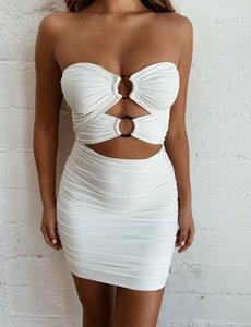 Dress Tube Top Sexy обновление Hip платье Famale штабели Тощей Твердая Одежда Женщина выдалбливает