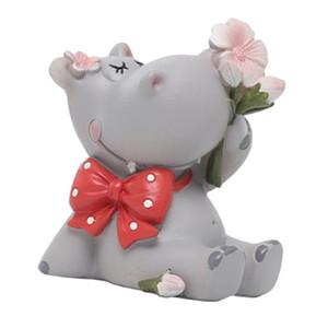Minyatür Hippo Heykeli Hayvan Figurine Peri Bahçe Bebekler Kek Topper DIY