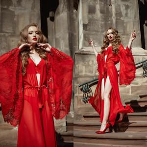 Túnica Roja vestido de novia de la ropa de noche de las mujeres Establece Albornoz noche del vestido del cordón atractivo de la ilusión para mujer diseñador de la ropa interior pijamas Femme