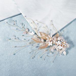 GETNOIVAS Foglie Fiori Grip colore dell'oro della clip dei monili della sposa Matrimonio Pin Donne Headpeice Accessori per capelli SL