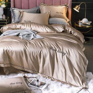 2020 Silk Bedding Sets King Set Size Para Princess Pink Hotel Crianças Sala Azul Duvet Cover fronha