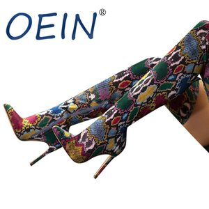 OEIN Winter Women's Boots Warm Female Side Zipper Boots Retro Printed Shoes High Heel Over The Knee Thin Heels Snake Print Shoes