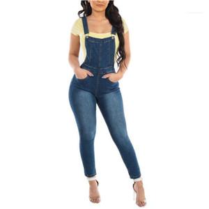 Frühlings-Designer Reißverschluss-Taschen-Knopf Jeans Weibliche Blass Demin Ärmel Jumpsuits helle Frauen gewaschene Weinlese Overall