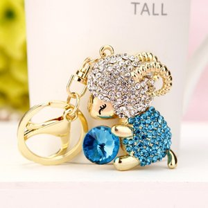 Sheep Bule Green Lovely Crystal Charm Purse Handbag Car Key Keyring Keychain Party Wedding Birthday Gift