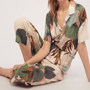 Pajamas Women's Short-sleeved Cropped Trousers Pajamas Set with Leaves Printing Lapel Casual Large Size Loose Style Home Clothes 200919