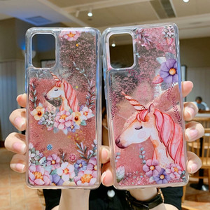 3D Liquid Soft TPU Case For Samsung A21S M20 M30 A51 A71 5G S20 PLUS Ultra A10S A20S Drakaple Flower Glitter Quicksand Cartoon Phone Cover
