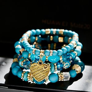 4pcs Set Fashion Boho Blue Bracelets&Bangles Women Summer Gold Heart Beaded Bracelet Colorful Stone Wrap Bracelet For Women