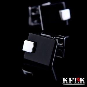 KFLK Jewelry French shirt Fashion cufflinks for mens Brand Black Cuff link Wholesale Wedding Button High Quality Free Shipping