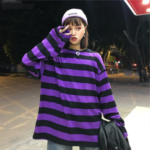 Hoodies Women Striped Long Sleeves O Neck Loose Womens Hoodie Harajuku Students Simple All match Leisure Trendy Chic New Kawaii