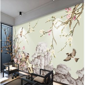 customized wallpaper for walls hand-painted plum blossom pen flower and bird wallpapers background wall decoration painting