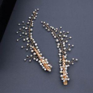 FORSEVEN Yüksek Moda Altın Rengi Metal Simüle İnciler Tokalar headpieces Gelin Noiva Düğün Saç Takı Aksesuar