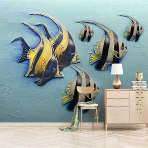 Customize 3D embossed fish background wall painting kid room custom large mural green wallpaper papel de parede para quarto