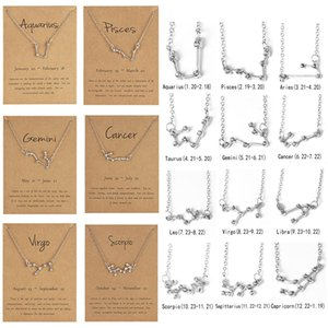 12 Constellation Pendant Necklace Zodiac Sign Necklace Crystal Birthday Message Card For Women Girl Fashion Jewelry