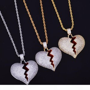 Broken Heart Pendant Gold Chain Hip Hop Jewelry Designer Jewelry Choker Iced Out Chains Statement Necklaces Mens Gold Pendant