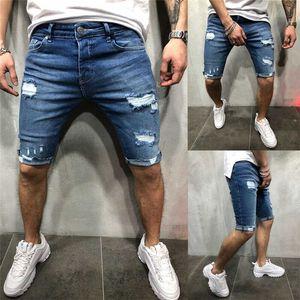 ممزق الرجال بسط نحيل طول الركبة جينز المدمرة مخدوش جينز قصير ذكر صالح سليم مستقيم جان الدينيم زائد الحجم