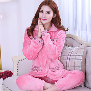 Womens Korean-Style Flannel Pajamas Long Sleeve plus Size Coral Velvet Pajamas Suit Thick Warm Leisure Tops for Autumn and Winter