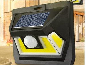 2020 New solar wall lamp Three side light body induction Indoor outdoor waterproof courtyard lighting street lamp