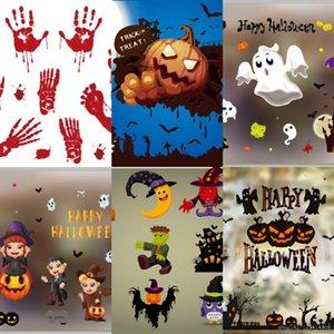 Cartel del arte de Halloween qbXn0 extraíble Placa decoración del gato pegatinas de pared tienda ventana del castillo de cristal Fondo de pantalla de PVC de pared Decoración Festival de Adhesivos
