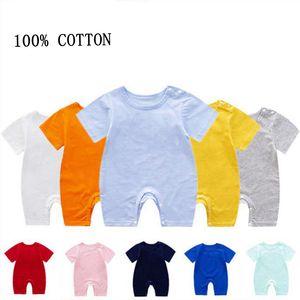 Solido Baby pagliaccetti sublimazione cotone ragazza appena nata tute Blank manica corta Infant Boy vestiti rampicanti estate vestiti del bambino DW5906