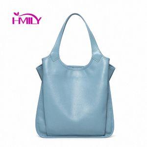 HMILY Genuine Leather Women Handbags High Capacity Fashion Women Shoulder Bags Temperament Bucket Bag New Ladies Bags Purses Wholesale QoFU#