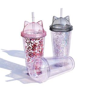 Сок Wine Glass Cat Ear пришивание двухслойного Кубок Дети Детские мультфильм милых творческие Блестки пластиковых массажеры с соломкой