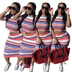 여성 여러 가지 빛깔의 스트라이프 스커트 패션 스커트가 2PCS를 설정 캐주얼 하프 슬리브 자르기가 높은 허리 Bodycon 중순 송아지 탑 투피스 세트를 인쇄 설정